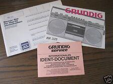 Alte Bedienungsanleitung f.Grundig Radiorecorder RR 325 Stereo Kassettenrekorder