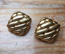 Vintage Gold Tone Curved Lattice Earrings/Studs/Clip On/Retro Style/1970's/80's/