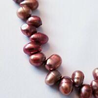 "VTG Copper Color Freshwater Pearl Necklace Potato Choker 16"" Collar Necklace"