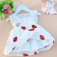 Baby Girls Princess Dresses Sundress Casual Flower Cotton Sleeveless Kids Cloth