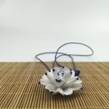Porcelain Flower Lotus Pendant Chinese Ceramic Jewelry Sweater Chain Necklace