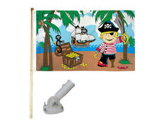 New listing 5' Wooden Flag Pole Kit W/ Nylon White Bracket 3x5 Treasure Island Boy Poly Flag