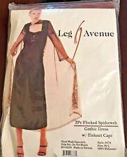 Gothic Spiderweb Dress w/ Fishnet Cape Leg Avenue M/L