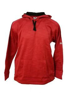 Majestic Men's Therma Base Fleece Lined Pullover Hoodie Red w/ Black