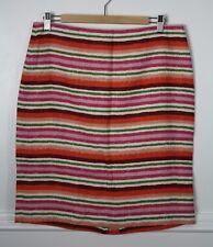 0f26011507 Talbots Pink Orange Green Striped Linen Pencil Straight Skirt Size 10