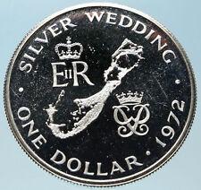1972 Bermuda UK Elizabeth II Prince Philip Wedding Silver 1 Dollar Coin i82393