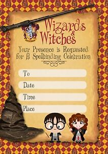 Harry Potter Wizards & Witches Party Invitations x 10 c/w Envelopes