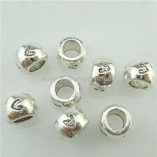16475 35PCS Anitque Silver Vintage 8.5mm Tube Love Heart Spacer European Beads