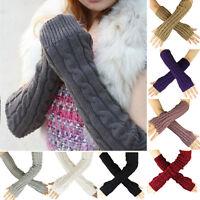 Fashion Women Men Gloves Arm Warmer Long Fingerless knit Mitten Winter Unisex *