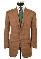 Faconnable x CARUSO Brown Gun Club Check WOOL CASHMERE Sport Coat Jacket 50 40 R