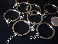 Anillas para llavero metal 25 mm con cadena plateados llaveros 4 unidades