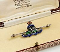 WW2 Royal Artillery & Enamel Sweetheart Pin Back Brooch c.1940 RA  (SB-A)