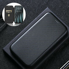 For HTC Desire 20 Pro, Luxury Hybrid Flip Carbon Fiber Wallet Card Case Cover