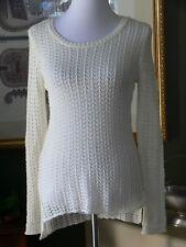 Hippie Rose Cream Crochet Cotton Blend Hi-Lo Tunic Top Back Detail XS NWTs