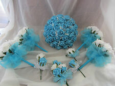 WEDDING / BRIDAL FLOWERS, TURQUOISE & WHITE BOUQUET PACKAGE.BRIDES,BRIDESMAIDS