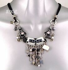 Tibetan Thai Silver Engraved Enamelled Crystal Charms Ethnic Waterfall Necklace