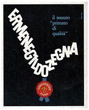 PUBBLICITA' 1962 ERMENEGILDO ZEGNA PRIMATO TESSUTO QUALITA' SIGILLO STUDIO TESTA