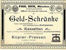 Paul Dick München GELDSCHRANK-FABRIK  Historische Reklame von 1900
