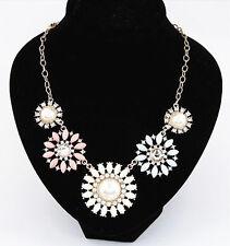 New Fashion Chic Charm Color Resin Rhinestone Flower Shape Collar Bib Necklace J