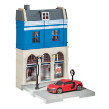800037 Herpa City Bank Building with Audi R8 Die-cast Model 1 64