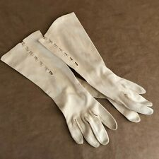 "Vintage 12"" evening Gloves pearl buttons long wedding womens off white ivory"