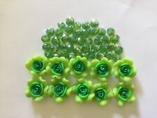 Green flower and faceted glass bead for craft and jewelry making