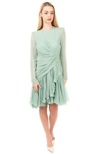 RRP €2415 GIAMBATTISTA VALLI Silk Flared Dress Size 44 / M Draped Made in Italy