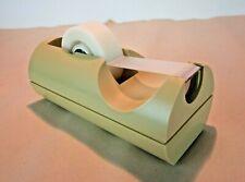 Vtg Midcentury Modern Plastic Desktop Scotch Tape Dispenser cream beige tan