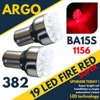 2 x ULTRA BRIGHT 19 LED RED REAR STOP BRAKE LIGHT BULBS 382 P21W 1156 BA15S 12V