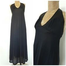 Vintage 70s Halter Top Night Gown Dress Size Medium Lingerie Black Nylon Pinup