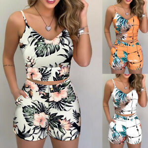 Women's Casual Sleeveless Romper Floral V Neck Jumpsuit  Playsuit Shorts Summer