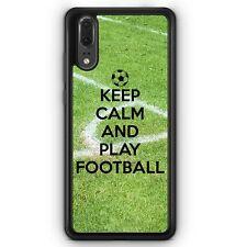 Huawei P20 SILIKON Hülle Keep Calm And Play Football Motiv Design Spruch Fußbal