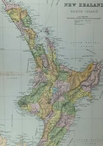 1891 ANTIQUE MAP NEW ZEALAND NORTH ISLAND WANGANU WELLINGTON COOK WAIROA