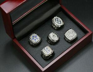 5 pcs Dallas Cowboys World Championship Ring Display Silver Ring Set with Box