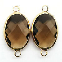 2Pcs Wrapped Faceted Brown Crystal Oval 25x13x6mm Pendant Bead DW61