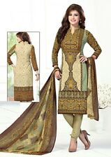 Ethnic Indian Designer Printed Crepe Salwar Kameez Unstitched Suit D.No AM1814