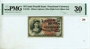 10 Cents 4th Issue Fractional Currency Fr#1261 PMG  VF30 # 34