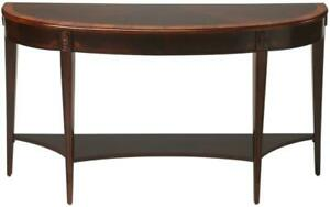 CONSOLE TABLE TAPERED LEGS DEMILUNE LEG HAND-RUBBED NUTMEG STAIN CHERRY