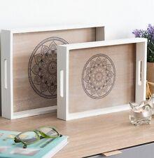 Set 2 Bandejas de madera decorativas, 35 x 24 x 4 cm y 30 x 20 x 4 cm, hogar