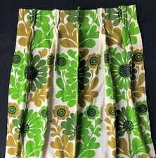Vintage Retro Pinch Pleat Curtains Curtain Panel Green Olive Flower Power 24x94