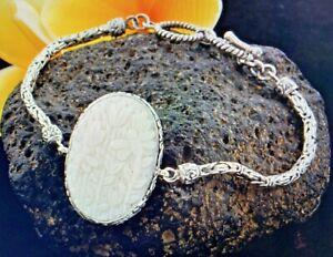 Bali Goddess Carved  reversible dragonfly +flower 7.5 in bracelet In Silver 18 G