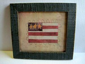 """Shelly Riggs Tri-Star """"Our"""" American Flag Folk Art Wood Framed 11x10 Primitive"""