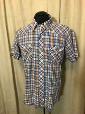 Mens Vtg Open Range Western Shirt L Multi Color Plaids Short Sleeve cot/poly