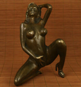 Old decor Copper Bronze naked Sexy girl beautiful woman Beauty kneel big Statue