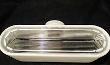 Vintage Kitchen Bathroom Light Fixture Slip Shade 1930 Art Deco Frosted & Clear