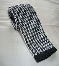 SUPERNOVA Skinny Black White Dogtooth Knitted Silk Tie Mod Indie Ska 2 Tone 60s