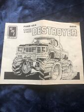 """AMT """"THE DESTROYER"""" TRUCK JUNKYARD PARTS ONLY- INSTRUCTIONS ONLY - 6-7"""