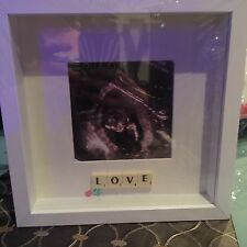 "WHITE Baby FRAME SCAN ""LOVE"" PHOTO SCRABBLE TILE PICTURE STUNNING"