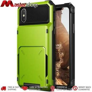 VRS Design Rugged Case iPhone X with 5 Cards Container - Lime Green