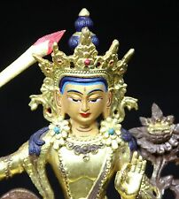 """Wenshu Manjushri Bronze & copper Tibetan Buddha"" Painted Features (6 1/8"" High)"